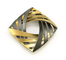 Interlock Square Brooch by Keiko Mita (Gold & Silver Brooch)