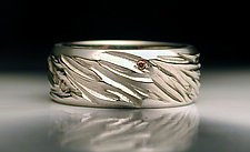 Carved White Gold Band with Diamonds by Jim Dailing (Gold & Stone Ring)