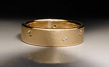 18K Yellow Gold Band with Flush Set Diamonds by Jim Dailing (Gold & Stone Ring)