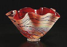 Golden Gem Fluted Bowl by Cristy Aloysi and Scott Graham (Art Glass Vessel)