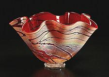 Golden Gem Fluted Bowl by Cristy Aloysi and Scott Graham (Art Glass Vessel)