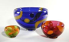 Stripes & Spots Bubble Bowl by Cristy Aloysi and Scott Graham (Art Glass Bowl)