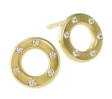 18K Circle Studs by Jodi Brownstein (Gold & Stone Earrings)