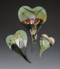 Sage Mottled Glass Hearts by Nina  Cambron (Art Glass Wall Sculpture)