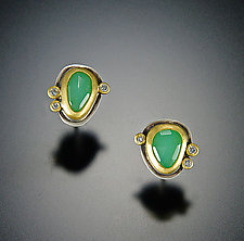 Chrysoprase Stud Earrings with Diamonds by Ananda Khalsa (Gold & Stone Earrings)