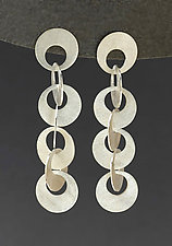 Long Interlocking Circle Earrings by Heather Guidero (Silver Earrings)