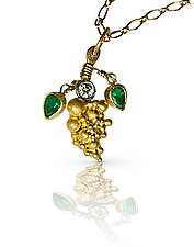 Tiny Gold Grapes with Diamond and Emeralds by Nancy Troske (Gold & Stone Necklace)