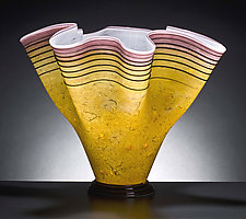 Arizona Sunset Fluted Bowl by Curt Brock (Art Glass Vessel)
