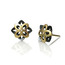 Moiré Star Earrings by Keiko Mita (Gold, Silver & Stone Earrings)