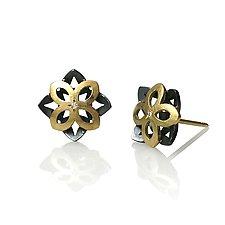 Moiré Star Earrings by Keiko Mita (Gold, Silver & Stone Earrings)