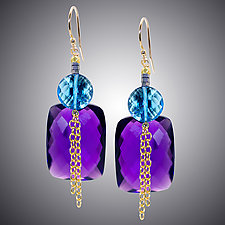 Amethyst and London Blue Quartz Earrings with Chain by Judy Bliss (Gold & Stone Earrings)