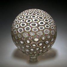 Multicolor Thread Sphere by David Patchen (Art Glass Sculpture)