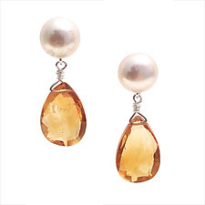White Pearls & Citrine Drops by Kathleen Lynagh (Silver, Stone & Pearl Earrings)
