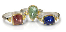 Spring Rings by Nancy Troske (Gold, Silver, & Stone Ring)