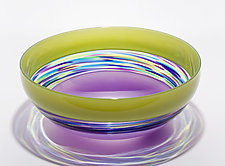 Banded Vortex Bowl: Lime, Cool Lime & Dark Violet by Michael Trimpol and Monique LaJeunesse (Art Glass Bowl)