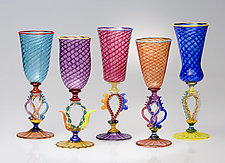 Tutti Frutti Wine Powder Twist Goblets by Robert Dane (Art Glass Goblets)