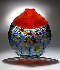 Orange Battuto Murrini Vase by Chris McCarthy (Art Glass Vase)