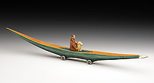 Journey Boat: Figure with Dog by Dona Dalton (Wood Sculpture)
