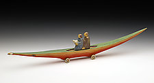 Journey Boat: Couple with Bird by Dona Dalton (Wood Sculpture)