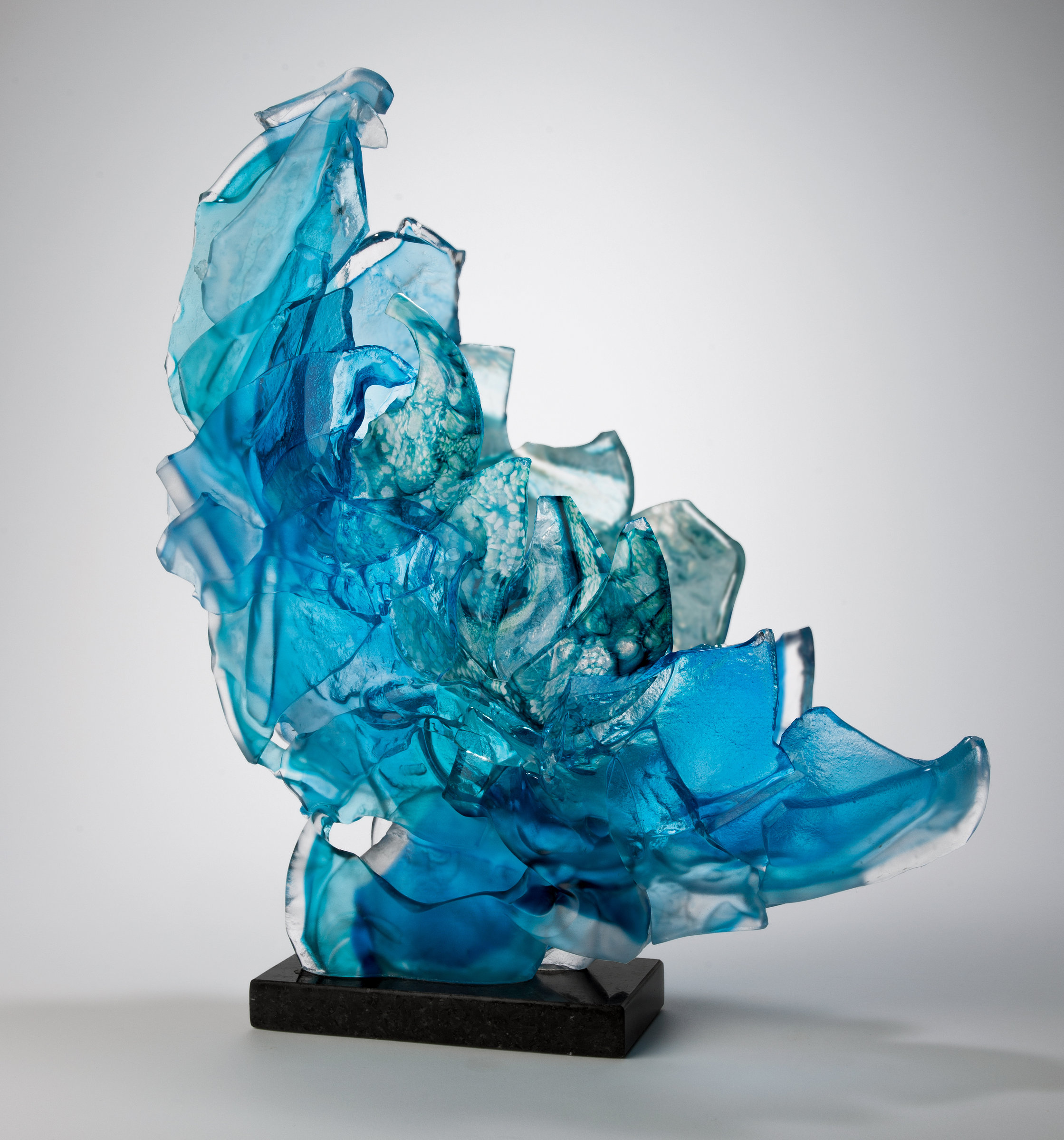 Blue Brimstone By Caleb Nichols Art Glass Sculpture
