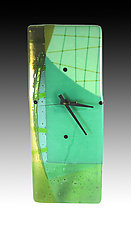 Aquagreens Clock by Nina  Cambron (Art Glass Clock)