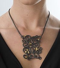 Wrought Large Panel Pendant with Flowers by Natasha Wozniak (Silver & Gold Necklace)