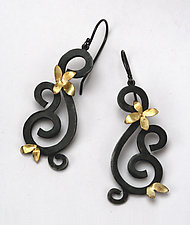 Wrought Earrings with Flowers by Natasha Wozniak (Silver & Gold Earrings)