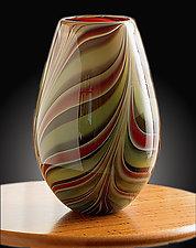 Green Leaf Open Egg Vase by Christopher Jeffries (Art Glass Vase)