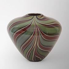 Green Leaf Basket Vase by Christopher Jeffries (Art Glass Vase)