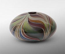 Green Leaf Elliptical Vase by Christopher Jeffries (Art Glass Vase)