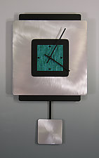 Square on Square Pendulum Clock With Aluminum by Linda Lamore (Painted Clock)