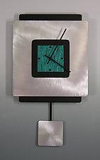 Square on Square Pendulum Clock With Aluminum by Linda Lamore (Painted Clock)
