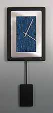Bordered Rectangle Pendulum Clock With Aluminum by Linda Lamore (Painted Clock)