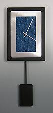 Bordered Rectangle Pendulum Clock With Aluminum by Linda Lamore (Painted Clock)