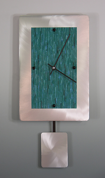 Teal on Brushed Aluminum Pendulum Clock