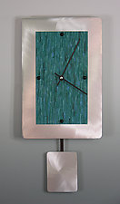 Teal on Brushed Aluminum Pendulum Clock by Linda Lamore (Painted Clock)