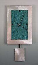Teal on Brushed Aluminum Pendulum Clock by Linda Lamore (Painted Clock)