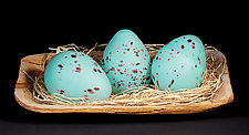 Blue Dragon Egg by Elodie Holmes (Art Glass Sculpture)