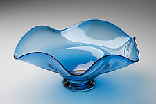 Dichroic Aqua Wave by Janet Nicholson and Rick Nicholson (Art Glass Vessel)