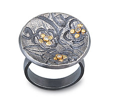 Flower Pattern Ring by Jamie Cassavoy (Silver, Gold & Stone Ring)