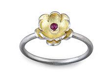 Petit Flower #2 by Jamie Cassavoy (Silver, Bimetal & Stone Ring)