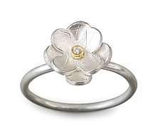 Petit Flower #1 by Jamie Cassavoy (Silver, Bimetal & Stone Ring)
