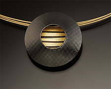 Saucer with Stripes Pendant by Tom McGurrin (Silver & Gold Pendant)