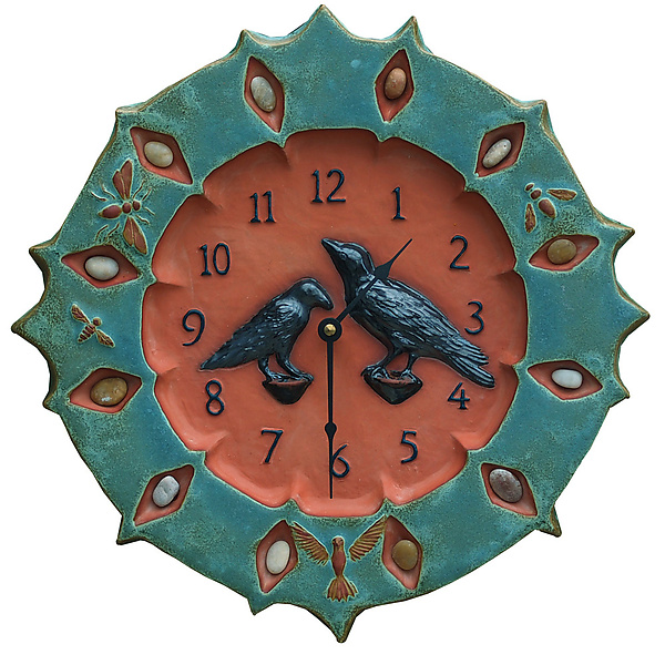 Ravens Ceramic Wall Clock in Turquoise & Terra Cotta with Stones