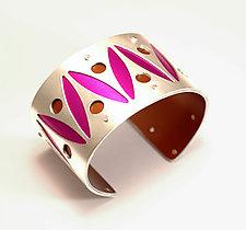Medium Two-Tone Pinball Cuff- Magenta by Gogo Borgerding (Silver & Aluminum Cuff)