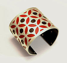 Large Two-Tone Bullseye Cuff - Red & Black by Gogo Borgerding (Silver & Aluminum Cuff)