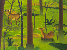 Woods with Deer by Jane Troup (Giclée Print)