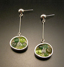 Small Green Oval Earrings by Ashka Dymel (Silver & Stone Earrings)