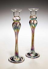 Mardi Gras Candlestick Pair by Mark Rosenbaum (Art Glass Candlesticks)