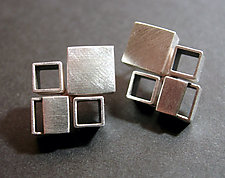 Bauhaus Earrings (ER817) by Hilary Hachey (Silver Earrings)